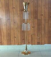2018 fashion Crystal Table Centerpieces wedding pew aisle decoration Metal Flower vase Stand Wedding Decoration 135cm 54Tall