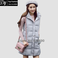 New Padded Winter Hooded Jacket Women Cotton Vest Women's Winter Jacket Fashion Slim Long Solid Parkas Vest With Fur Ball