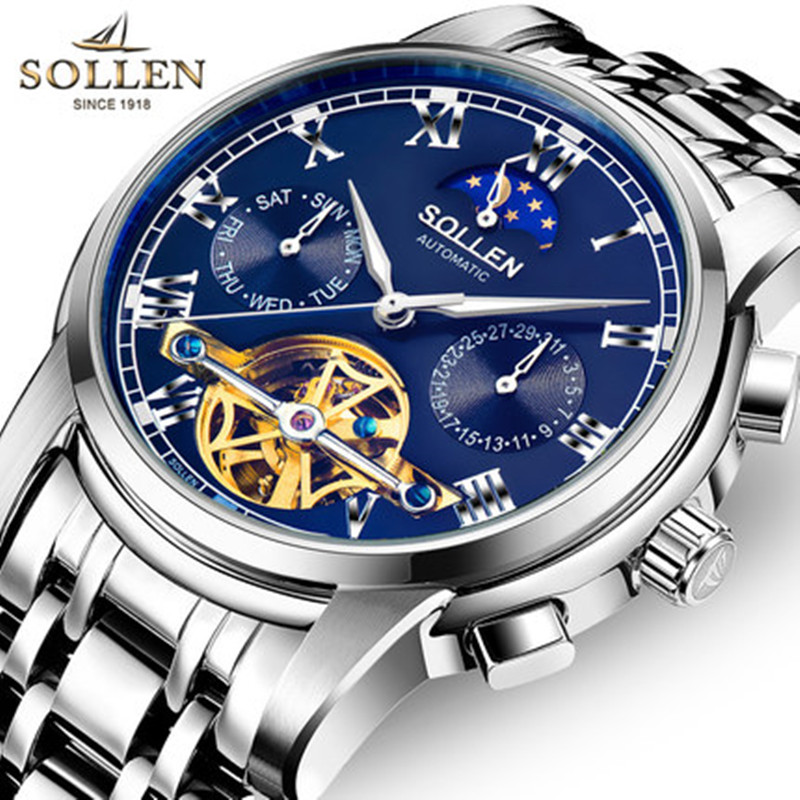 Relogio Masculino SOLLEN quality fashion men watches automatic mechanical watch hollow flywheel fashion business men wristwatch new business watches men top quality automatic men watch factory shop free shipping wrg8053m4t2