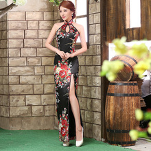 Traditional Chinese Dresses Sexy Backless Cheongsam Dress Black Modern Long Qipao Vestidos Chinos Oriental Evening Dress Robe QL