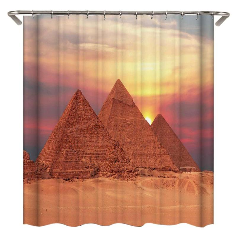 3D Pyramid/Rose Shower Curtains Waterproof Polyester Bathroom Curtain Mildew Resistant Curtain for Bathroom With 12pcs Hooks
