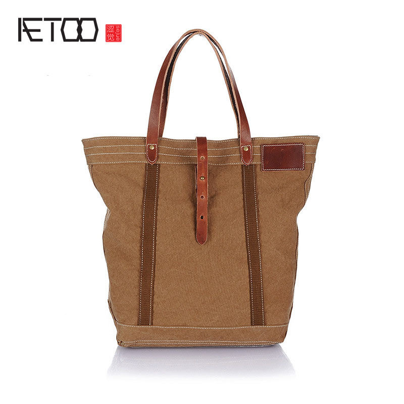 AETOO Canvas shoulder bag leisure male Korean version of the retro Art canvas bag with leather