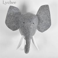 Lychee Felt Stuffed Elephant Head Wall Hanging Decoration Animal Design Wall Ornament Home Decors