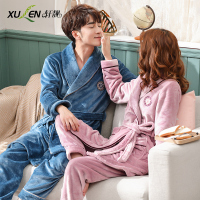 Couple bathrobe and pant set bride bridesmaid sleepwear winter sleep and lounge men women plus size home nightwear dressing gown