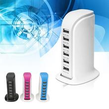 Transportable 30W 6 USB Port Energy Financial institution Journey Workplace Wall Charger Common Cell Telephone Charger Charging with US plug energy cable