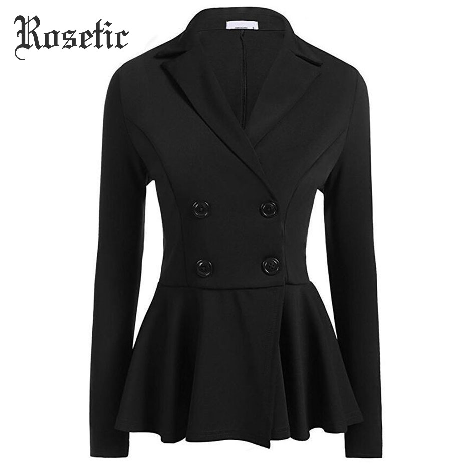 Rosetic пиджаки для женщин черный для Тонкий Весна Готический повседневное пальто будущих мам Мода Ruched бордовый офисные секс