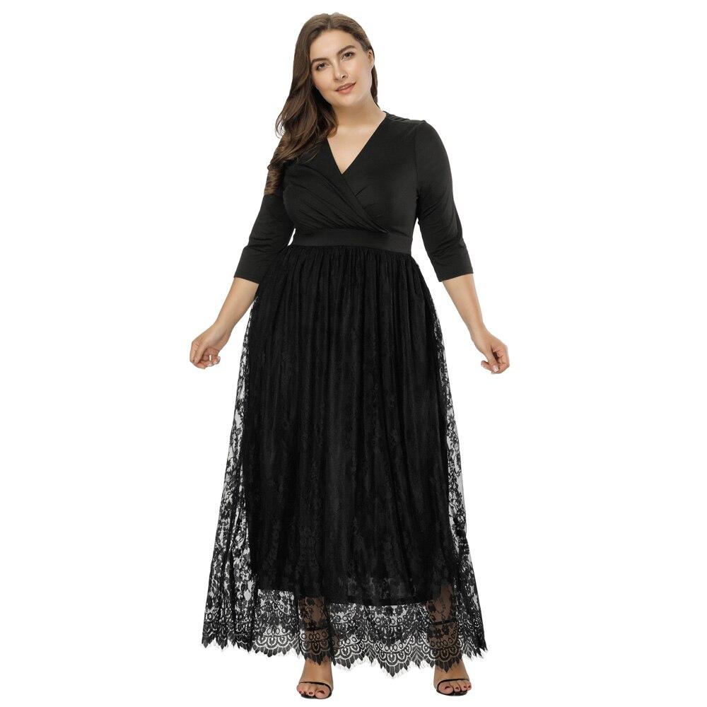 Grande taille femmes longue robe 3/4 manches Floral dentelle robe de bal soirée