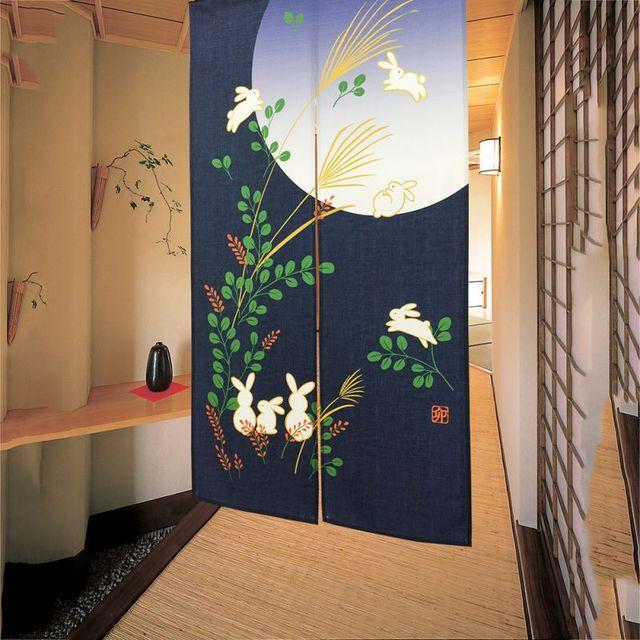 NEW High Quality 85*150CM Japanese Noren Cute Running Rabbits Under Full  Moon Kawaii Door
