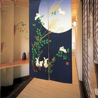 NEW High Quality 85 150CM Japanese Noren Cute Running Rabbits Under Full Moon Kawaii Door Curtains