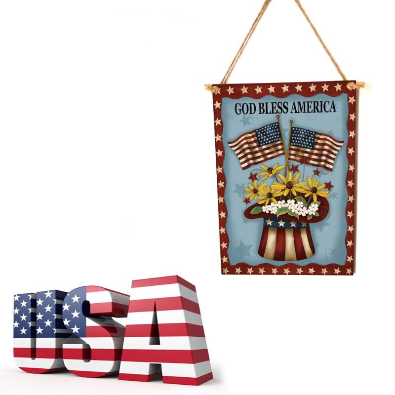 Image 2 - Rustic Wooden Happy God Bless America Flower Sign Plaque Independence Day Room Home Decoration Collection Gift-in Plaques & Signs from Home & Garden