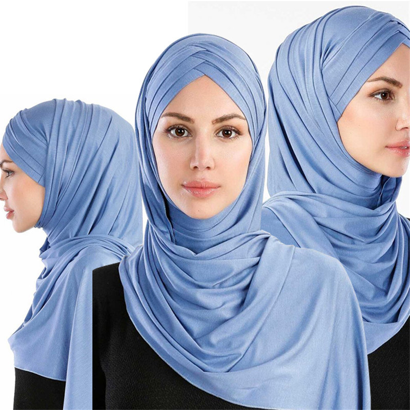 2019 Women Cotton Jersey Scarf Plain Hijab Instant Shawls And Wraps Islam Foulard Femme Muslim Hijabs Ready To Wear Headscarf