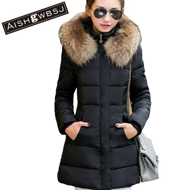 Aishg 2017 nueva moda largo invierno chaqueta mujeres adelgazan la capa  femenina thicken el parka Abrigos f215f31eff4f