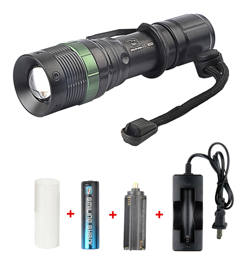 Brightest 500 Lumens Adjustable Focus Zoomable CREE Q5 LED Flashlight with Charger and R ...