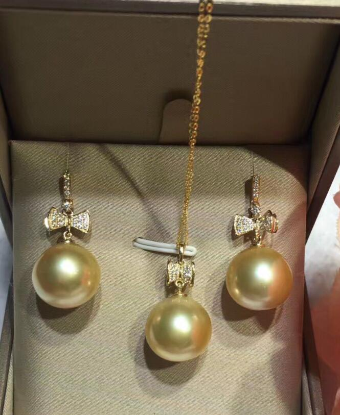 Wholesale price ^^^ New 12.5 13.5mm Natural south sea necklace pendant earring set pearl