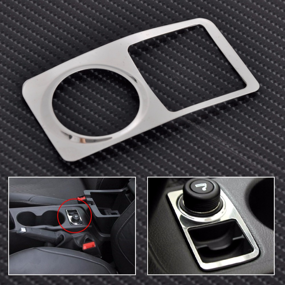 CITALL Chrome Stainless steel Car cigarette lighter decoration paillette Trim Refires Cover For Ford Focus 2011 2012 2013 2014