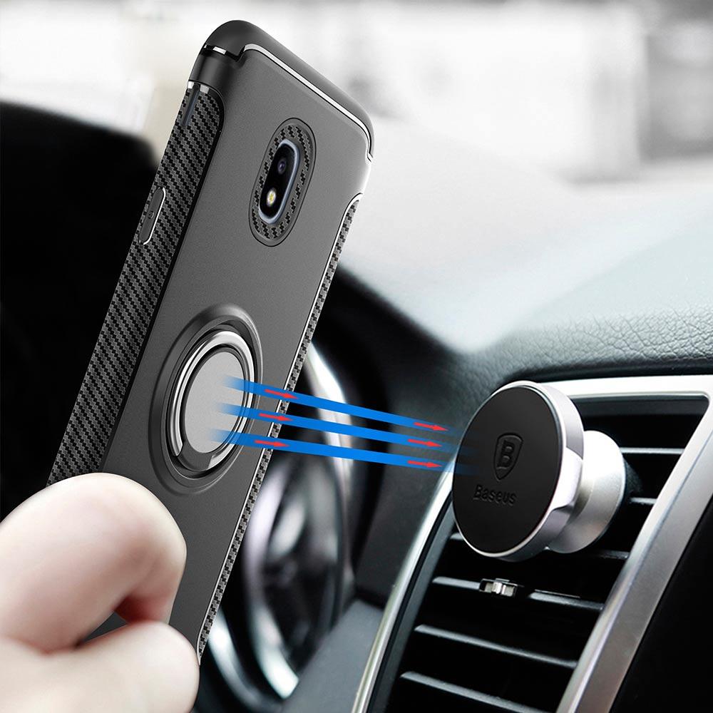 YOYO DEER Hybrid Case for Samsung Galaxy J3 2017 J330 Car Magnetic Phone Holder Finger Ring TPU+PC Cover for J3300 Phone Cases