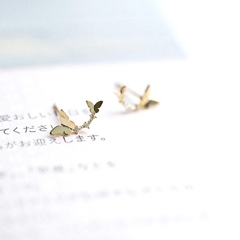 LUKENI Hot Fashion Single Glossy Women Earrings 14K Gold  Wedding Party Zircon Mosaic Butterfly Female