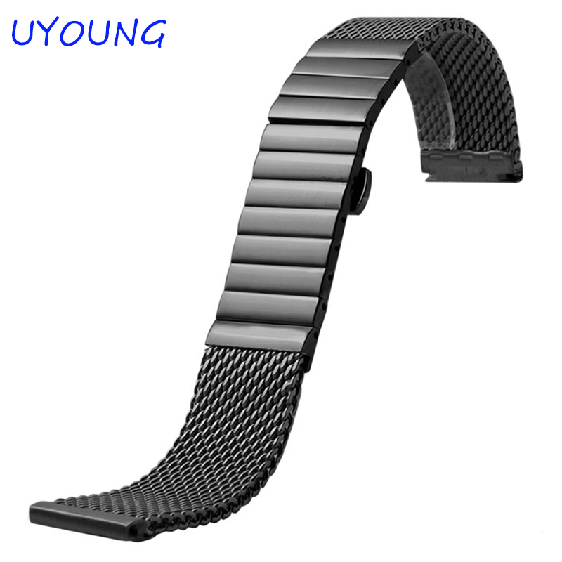 цены High Quality Milan Stainless steel Watchband 20mm 22mm Men And Women Black/Brown Watch Strap For Breitling Strap Bracelet