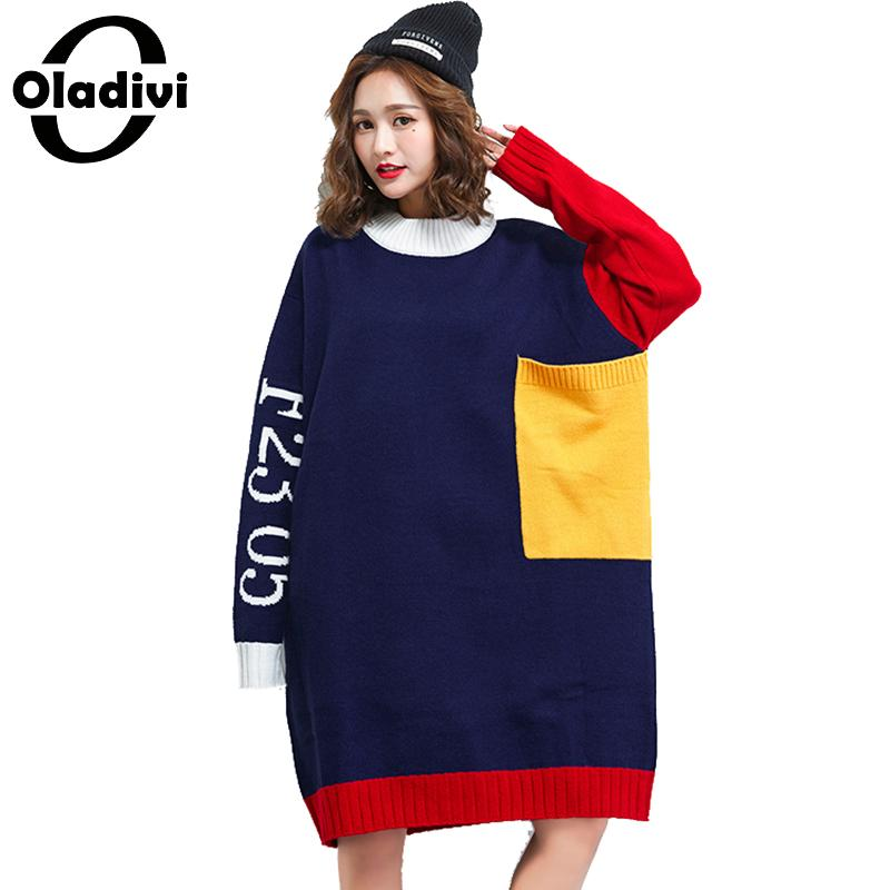 Oladivi Brand Plus Size Women Clothes Fashion Lady Sweater Dress Girl Casual Loose Knitted Pullover Dresses