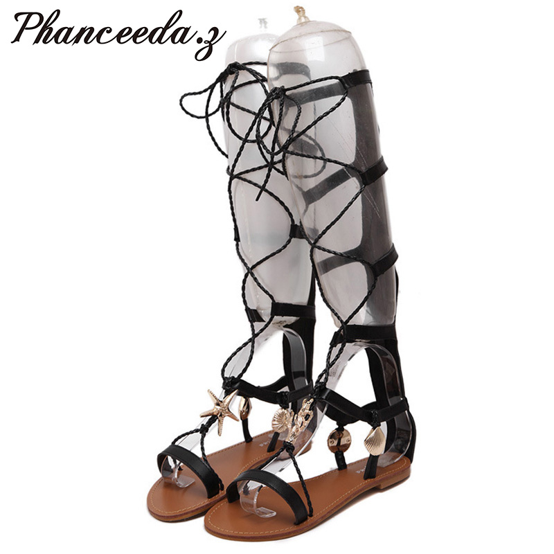 New 2017 Shoes Women Sandals Summer Flats shoes Sexy Knee High boots gladiator Sandals knee High Gladiator Rivets free shipping  handmade high quality 2017 summer new knee high boots gladiator women sandals boot real leather flats casual shoes black size 41