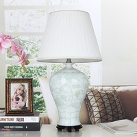 Chinese Handmade WhitePorcelain Table Lamps Cloth Lampshade Wood Base For Bedroom Home Decoration Desk Lights 110