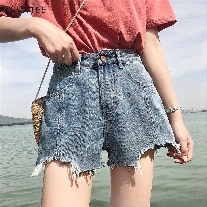 Shorts Women 2019 New Korean Version High-waist Denim Girl Summer High Quality Simple Elegant Loose Students Womens Casual Chic