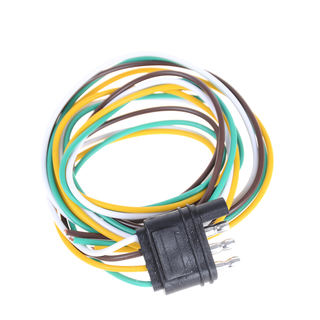 1pcs trailer light wiring harness extension 4 pin plug 18 awg flat wire  connector trailer male plug