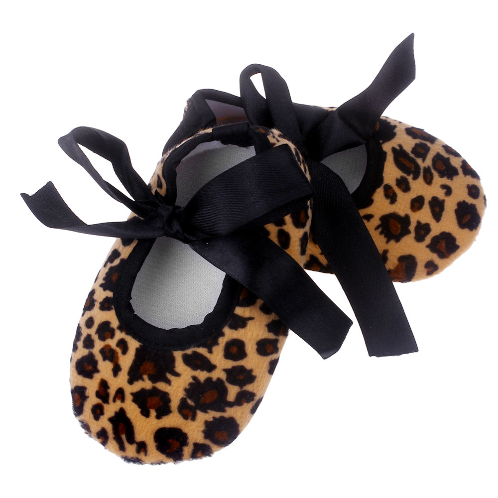 Leopard Pattern Baby Girl Shoes Strap Lacing Up Bowknot Newborn Cloth Shoes Chaussure Enfant