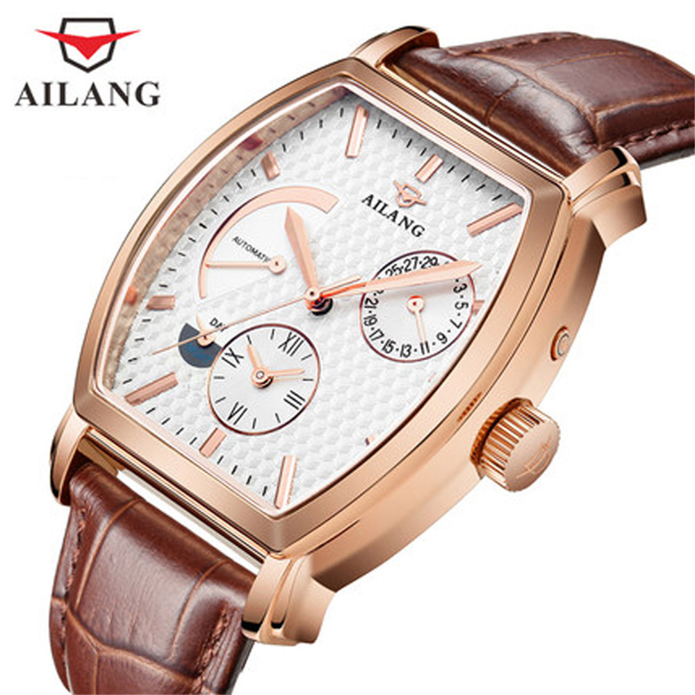 AILANG Date Month Display Rose Gold Case Mens Watches Top Brand Luxury Automatic Watch Montre Homme Clock Men Casual Watch original binger mans automatic mechanical wrist watch date display watch self wind steel with gold wheel watches new luxury