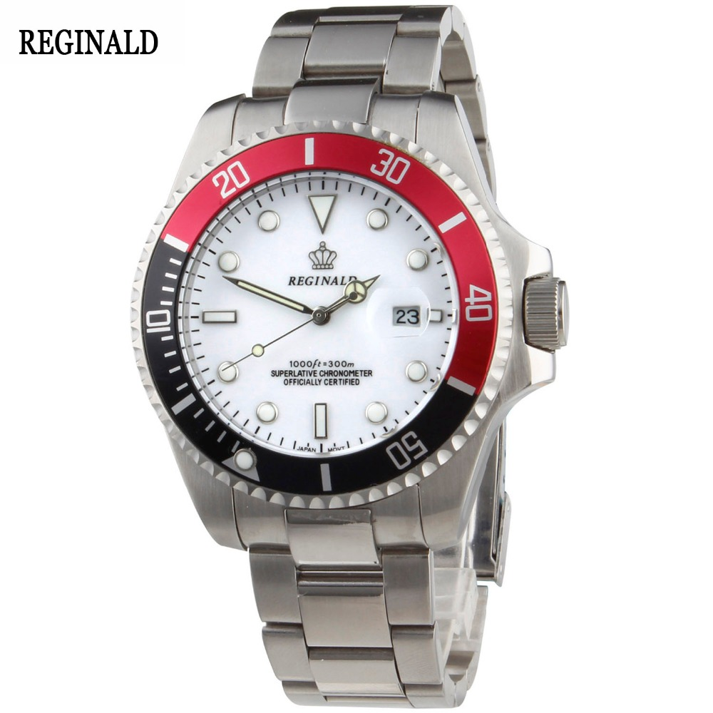 Luxury Reginald Watch Men Rotatable Bezel GMT Sapphire Date Stainless Steel Women Sport white dial Quartz Watch Reloj Hombre luxury reginald watch men rotatable bezel gmt sapphire date gold stainless steel sport blue dial quartz watch reloj hombre