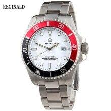 Lujo Reloj Reginald Hombres Bisel Giratorio GMT Fecha de Zafiro Mujeres Deporte esfera blanca Reloj de Cuarzo de Acero Inoxidable Reloj Hombre