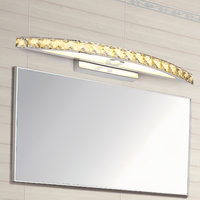 New Free Shipping 10/ 15W LED Crystal Mirror Wall Lamp Bathroom Lights 90 260V Stainless Sconces Indoor Crystal Lighting 54cm