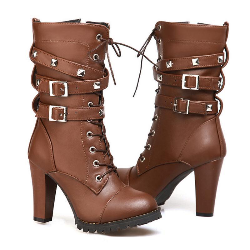 Alto Negro Up marrón Lace 34 Plataforma Moda Femininos Remaches Tacón Zapatos Cuero 43 Mujer Sapatos De Botas Zipper Nueva IwxPWHBTgq
