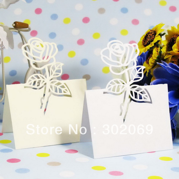 Rose Design Place Card Holder Table Card Holder For Party Decoration Place Card Holder 48pcs