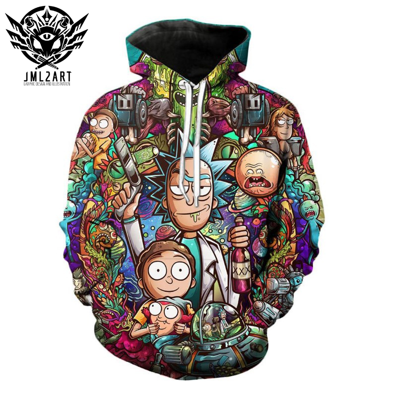 Rick And Morty Hoodies By Jml2 Art  Sweatshirt Men Brand 3D Effect Print Shirt Casual Tracksuit Pullover DropShip Streetwear