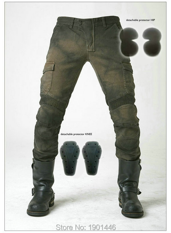 Free shipping MOTORPOOL UBS06 Army Green slacks for jeans ride in Moto jeans Leisure Loose Version with protective equipment