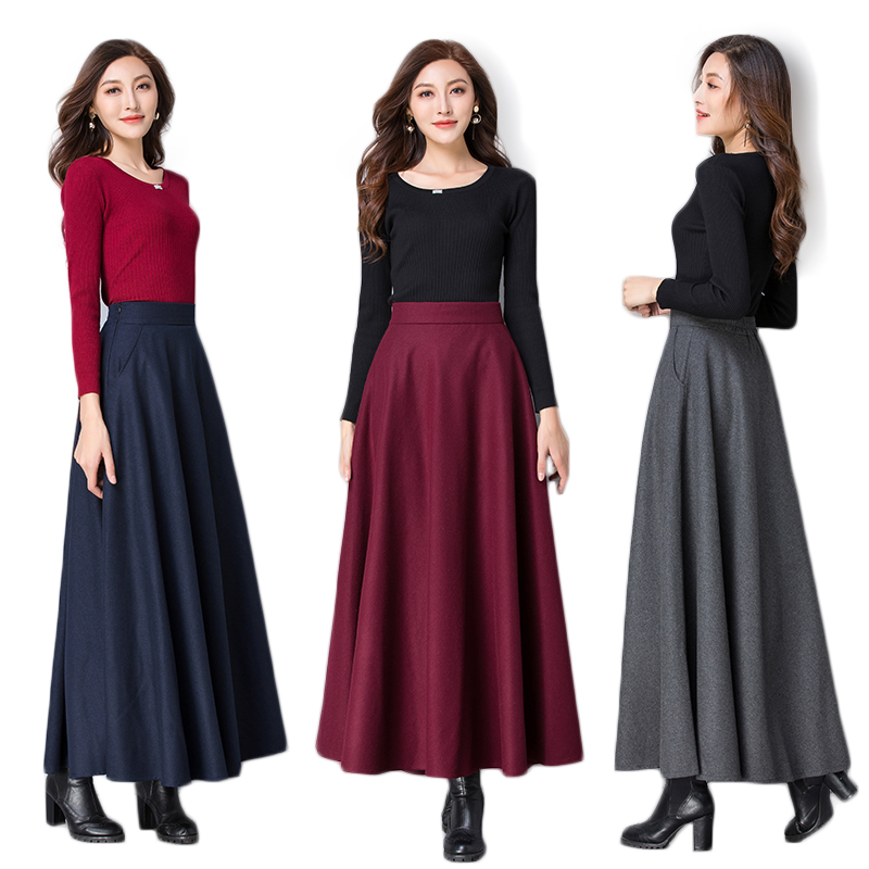 Women New 2019 Autumn Winter Korean Style Long A Line Thick Warm Woolen Skirts Female Plus Size 3XL Loose Wool Blends Skirts F22