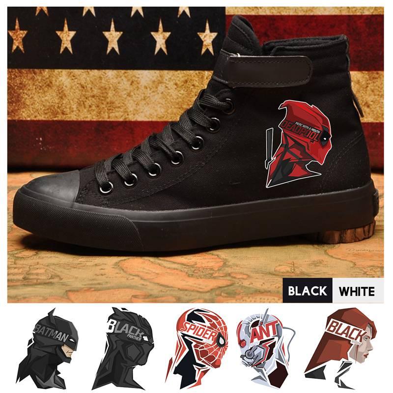 Fine Marvel Superhero Spider-man/deadpool/black Widow Pattern High Heel Canvas Uppers Men Canvas Sneakers Flat Shoese A193291 Shoes Men's Vulcanize Shoes