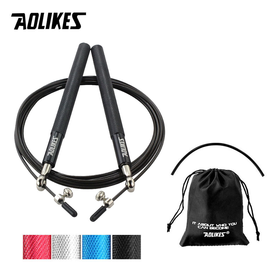 AOLIKES Fitness Jump Rope Premium Quality Adjustable Best Speed rope for Double Unders MMA Boxing Skipping Exercise Training procircle speed jump rope adjustable 10ft skipping ropes best for fitness boxing mma training metal ball bearings black