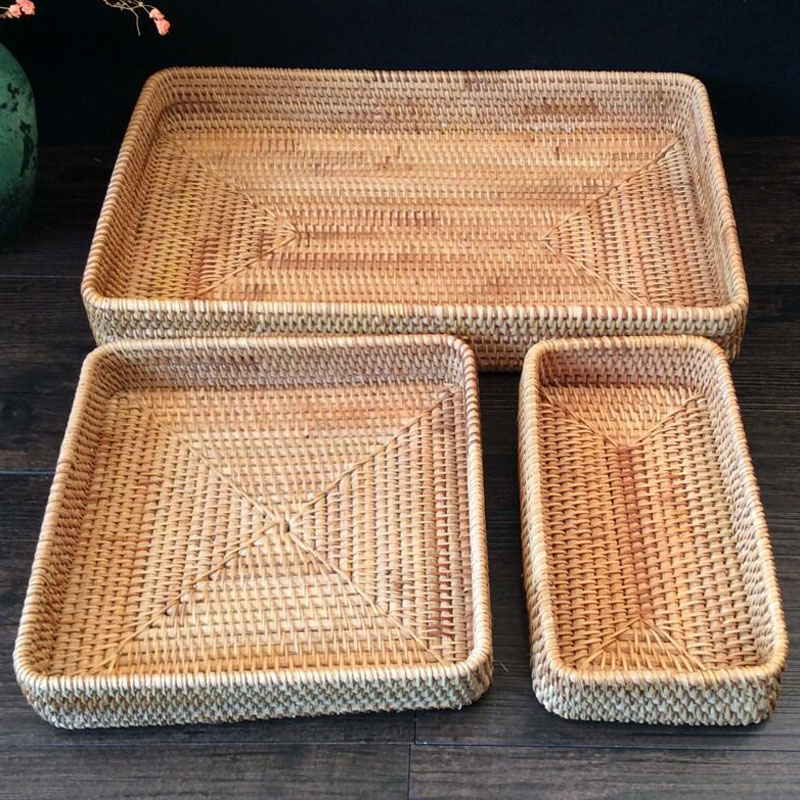 3 pcs lot Candy storage tray Fruits vegetable snacks stoarge dried fruit Rattan storage baskets tableware