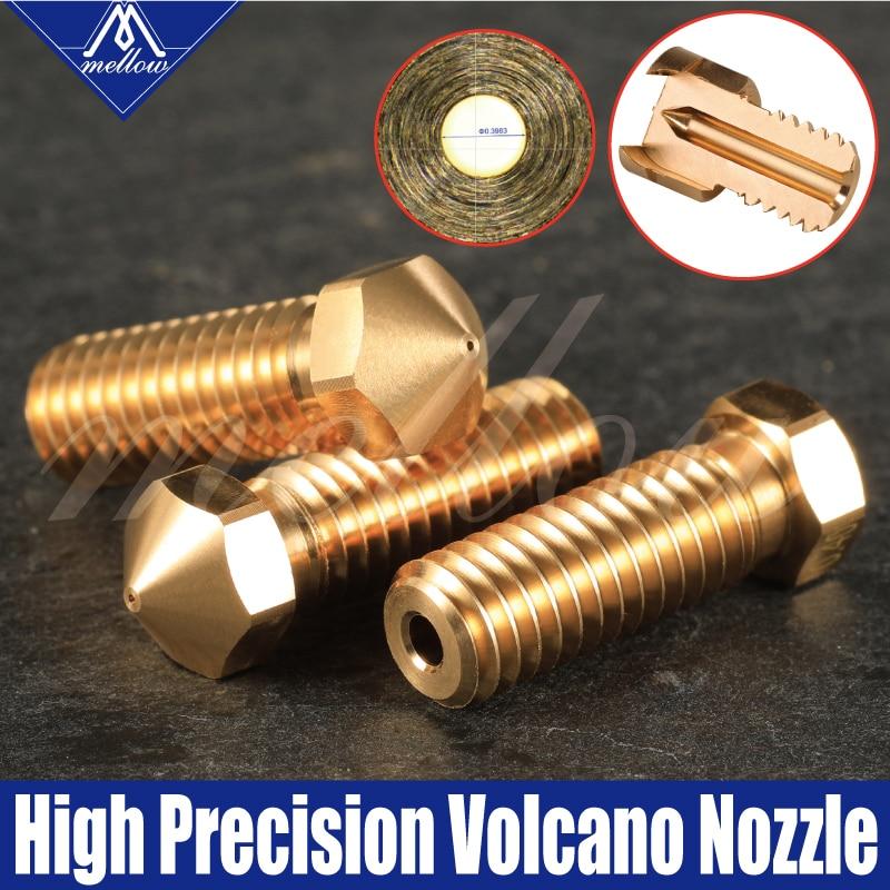Mellow Top Quality 3Pcs 3D Printer Extra Brass Volcano V6 Nozzle All Metal M6 Threaded 0.4mm For 1.75mm E3D Volcano Hotend