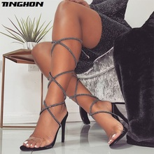 TINGHON Summer High Heels Women Gladiator Sandals Cross-tied Lace-Up Sexy Thin Heel Sandals Lady Shoes Black Size 35-40 цены онлайн
