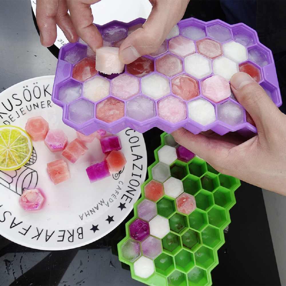 Bpa Gratis Sarang Lebah Es Batu Nampan 37 Batu Silikon Ice Cube Maker Cetakan dengan Tutup untuk Pesta Es Krim Wiski koktail Minuman Dingin
