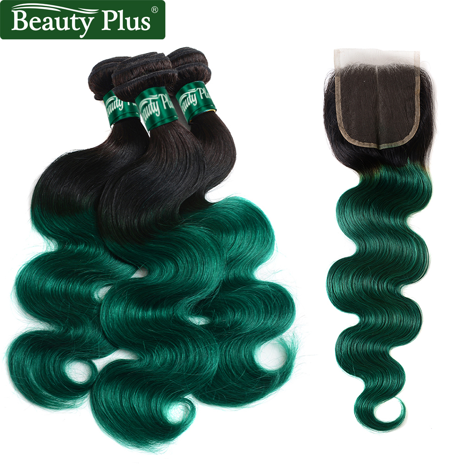Beauty Plus Human Hair Bundles with Closure Ombre 1B Green Brazilian Body Wave Weave Extension 3 Bundles with Closure Non Remy