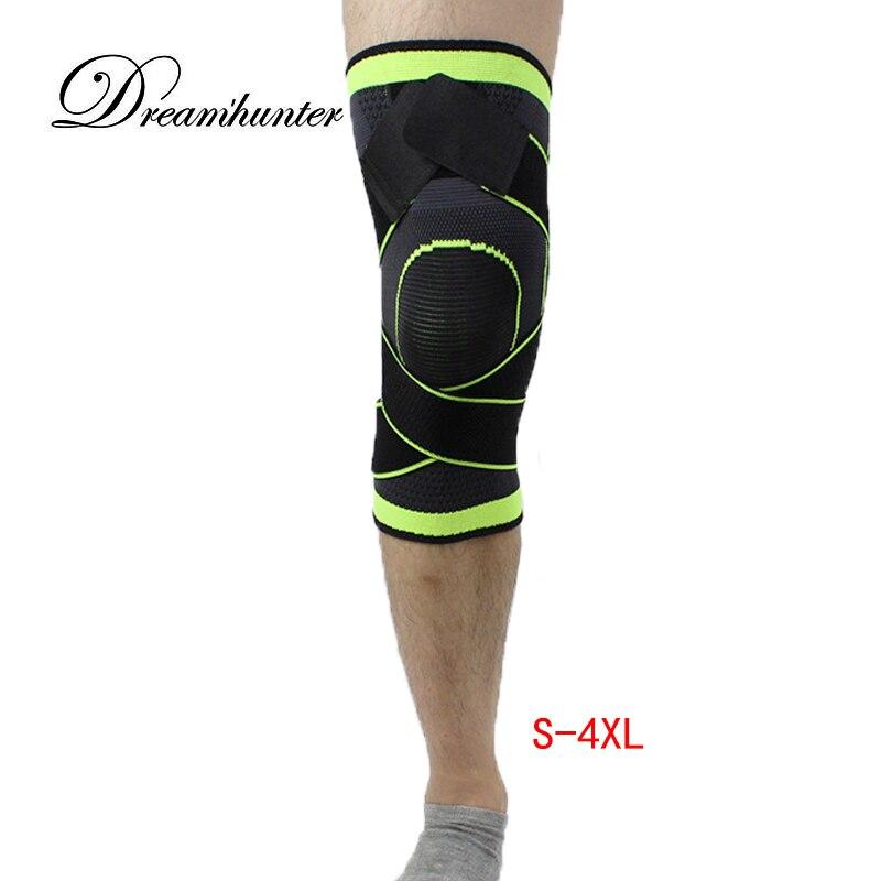 4XL baloncesto tenis senderismo ciclismo apoyo 3D tejer presurizado correas vendaje deportes rodilleras Patella guardia 1 unid