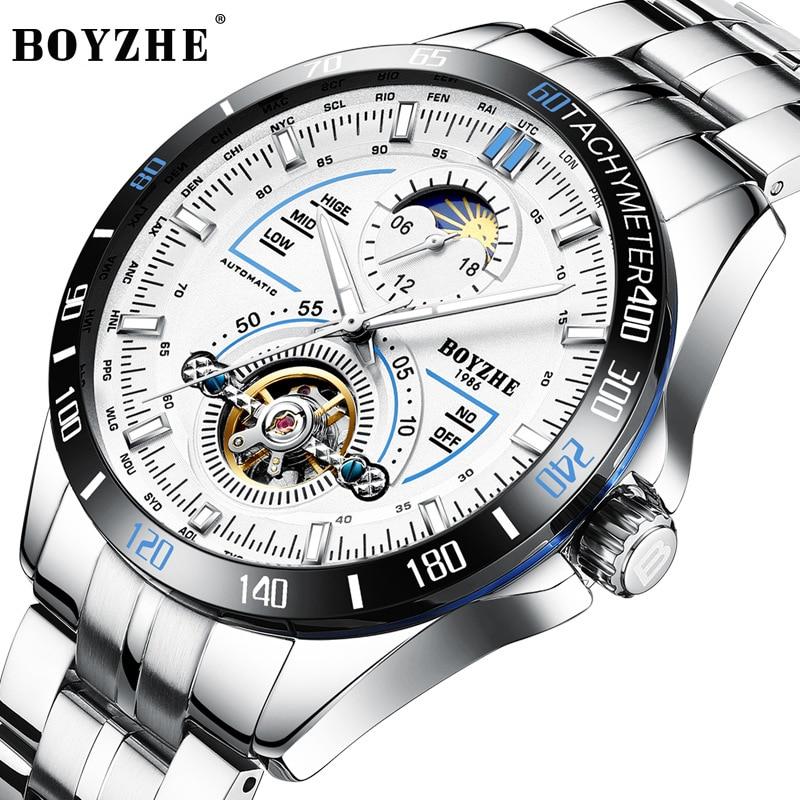BOYZ Men Watches Automatic Mechanical Watches men Casual Fashion Waterproof Watch Sports Stainless Steel watch relogio