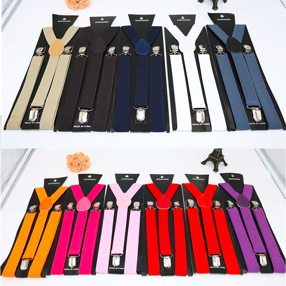 New Mens Womens Unisex Clip-on Suspenders Elastic Y-Shape Adjustable Braces Solids 25*100cm Colorful