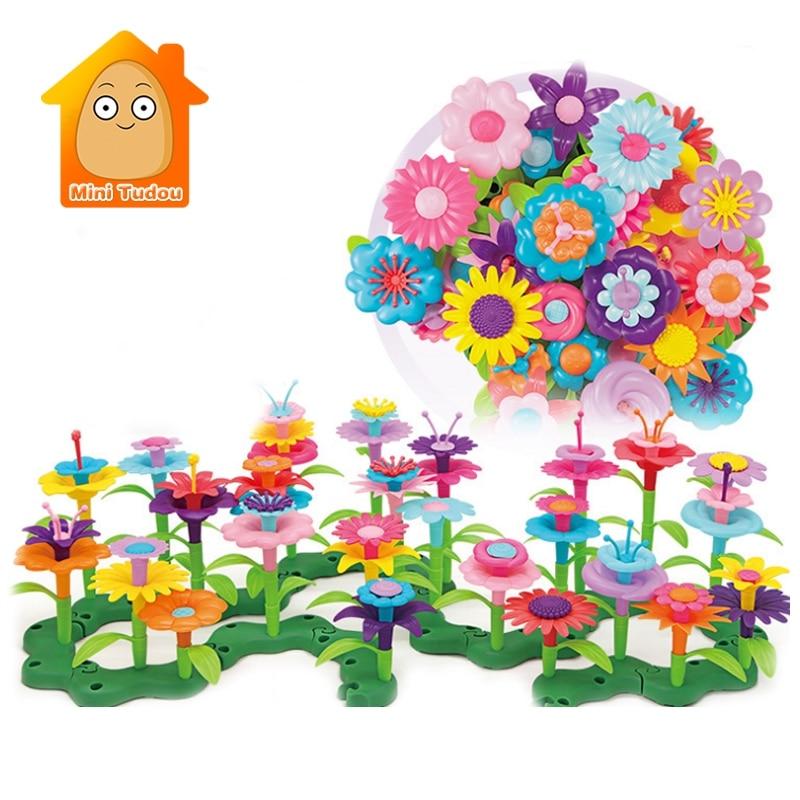 Dream Garden Series Girls Flower Interconnecting Blocks Toys Educational Assembly Blocks Creative DIY Bricks Toys For Children