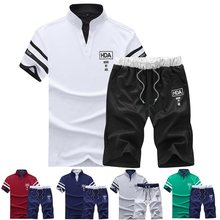 Tracksuit Man Sets Pants Summer New Men's Cropped T Shirt Shorts Casual Suits Sportswear Mens Clothing Male sweatshirt Brand 4XL(China)
