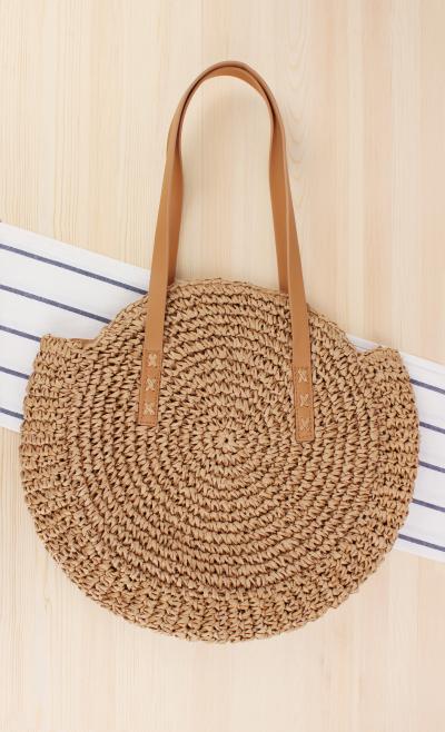 Round Straw Beach Bag Vintage Handmade Woven Shoulder Bag Raffia circle Rattan bags Bohemian Summer Vacation Casual Bags 1